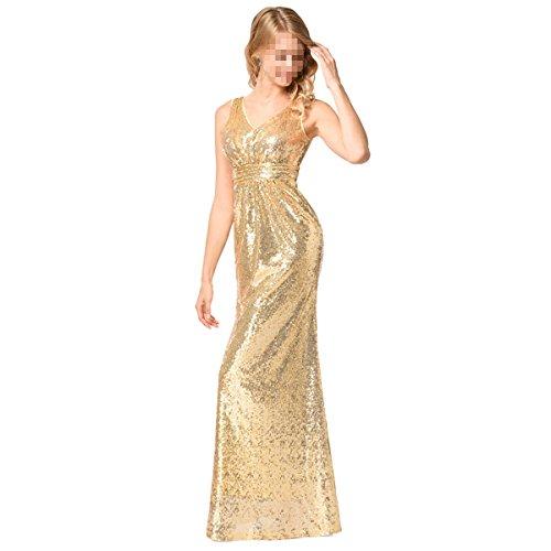 EALSN Frauen Pailletten Abend Party Kleider Sleeveless V-Ausschnitt Cocktail Lange Kleider,Gold-S - 3