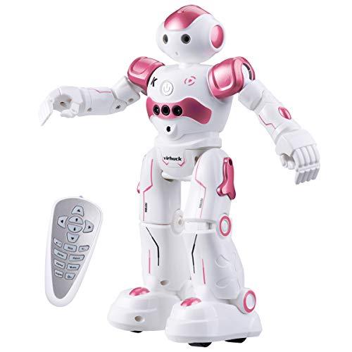 Virhuck R2 Ferngesteuerter Roboter, Intelligente Programmierung Geste Sensing RC Robot Kit, Tanzen Singen Walking RC Spielzeug für Kinder Unterhaltung, mit 500 mAh Wiederaufladbare Batterie - Rosa - Walking-spielzeug-roboter