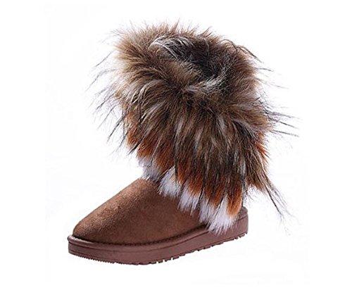 Très chic mailandaHalbshaft gefutterte bottes bottes fourrées femme court hiver fourrure bottes winterboots bottines - Braun-Schwarz