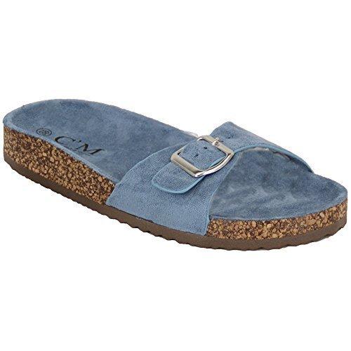 Scamosciata Azzurro Infradito Pantofole Delle 2015 Cursori Pelle Àenfiler Ciabatte Sughero Mcm Sandali Donne Piatte STq7F