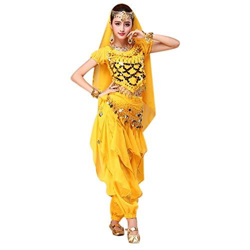 Tanzende Kleider Kostüm Und - Dastrues 4 Stück/Satz Bauchtanz Kostüm Bollywood Kostüm Indian Kleid Damen Tanzende Kostüm Sets Tribal Rock - Gelb