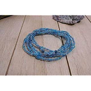 Schmuck Armband Böhmische Glasperlen Perlen zart filigran Handarbeit Stretch Wickelarmband blau petrol Aqua Kette Halskette Ibiza Style Sommer