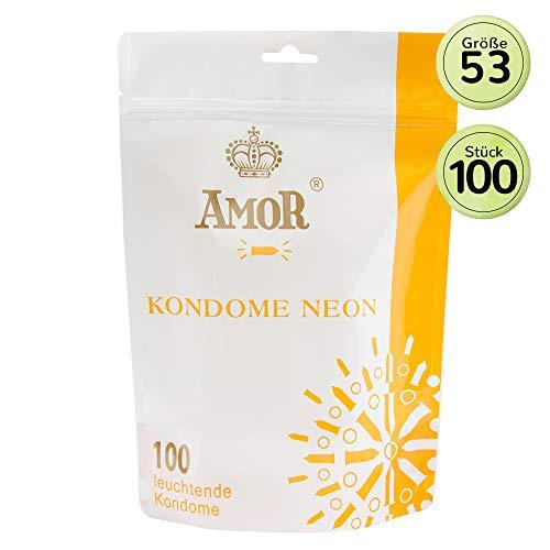 """AMOR\""""Neon\"""" 100er Pack fluoreszierende Markenkondome, für pures Gefühl, hauchzart und feucht"""