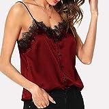 MERICAL Camicie Chiffon Pieghettato Canotta Allentato Backless della Cinghia di Spaghetti Camicetta delle Donne(Vino,XL)