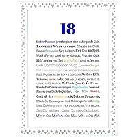 18. Geburtstag - Geschenkidee zur Volljährigkeit - Personalisiertes Bild mit Rahmen - Geburtstagsgeschenk für einen Jungen/Mann oder Beigabe zum Geldgeschenk, Kunstdruck, DIN A4