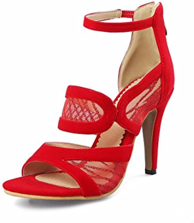Zapatillas Sandalias Zapatos  Sandalias de Mujer Sandalias de      Boca de Pescado Sandalias    Huecas, Rojo, 40