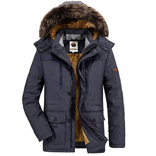 Yavero Winterjacke Herren Parka Gefüttert Baumwolle Mantel mit Pelzkragen Jacke Warm Outdoor Kapuzenjacke mit Fell Blau XX-Large
