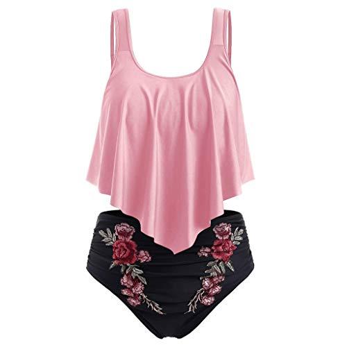 LSAltd Sommer Frauen Sexy Rüschen Einfarbig Push-Up Gepolstertes Top + Stickerei Blume Hohe Taille Bikini Set Badeanzug -