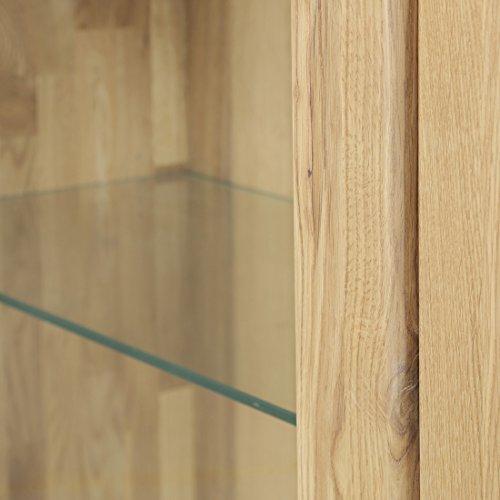 Firstloft 117-0000 Vitrine, Loft, Türanschlag links mit 1 Glastür und 2 Schubkästen, Wildeiche massiv, 104 x 206 x 47 cm, geölt - 5