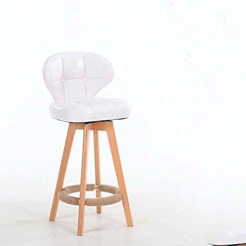 Tabouret de bar tournant nordique/tabouret en bois massif/chaise de bar rétro (Couleur : Blanc)