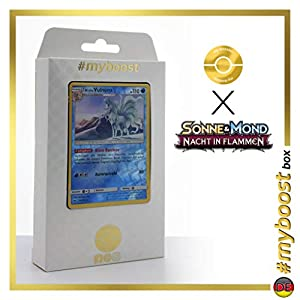 Alola-Vulnona (Ninetales de Alola) 28/147 Holo Reverse - #myboost X Sonne & Mond 3 Nacht in Flammen - Box de 10 Cartas Pokémon Aleman