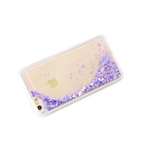 """3D Kreative Liquid TPU Silikon Schutzhülle für iPhone 7 4.7"""" Handyhülle Durchsichtig Rückseite Tasche Glitter Shiny Kristall Klar Handytasche Sparkle Dynamisch Treibsand Fließende Flüssigkeit Glänzend E02"""