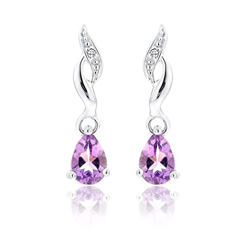 Ornami 9 ct White Gold and Diamond with Amethyst Glamour Earrings