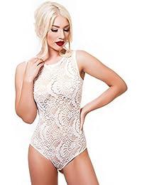 Damen Body Unterwäsche Transparent mit Spitze Fransen Fashion Rundhals Jumpsuit