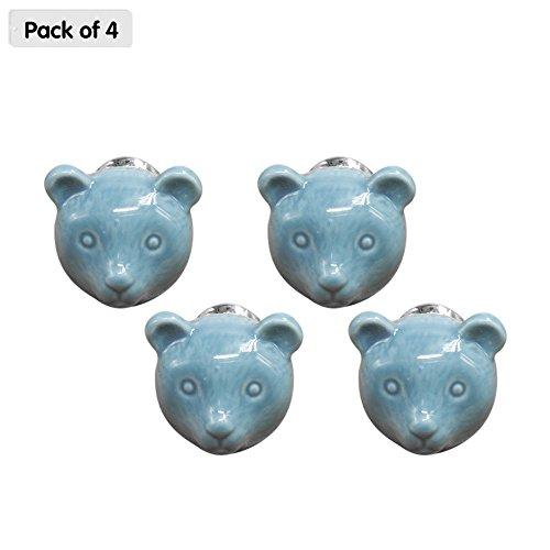 ZHI JIN 4Lovely Bear Form Schublade Knauf zieht Keramik Animal Schränke Knöpfe Griff Set für Kids Kleiderschrank blau (6-tier-bücherregal)