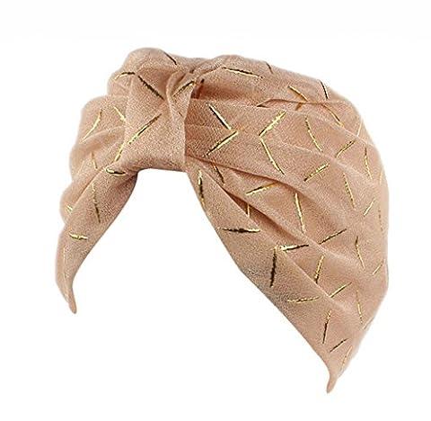 Elyseesen Women Silk Yarn Chemo Hat Beanie Scarf Turban Head Wrap Cap (Kaki)
