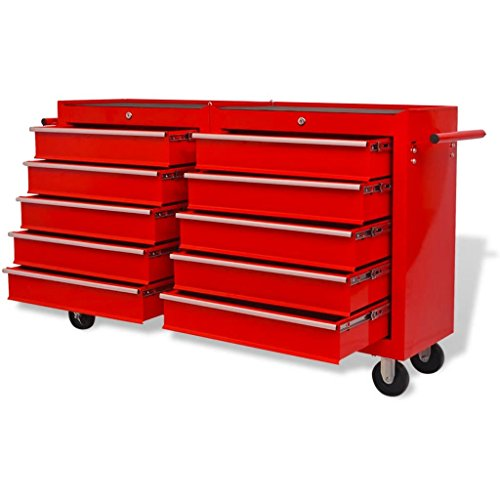 vidaXL Werkstattwagen mit 10 Schubladen XXL Stahl Rot - 3