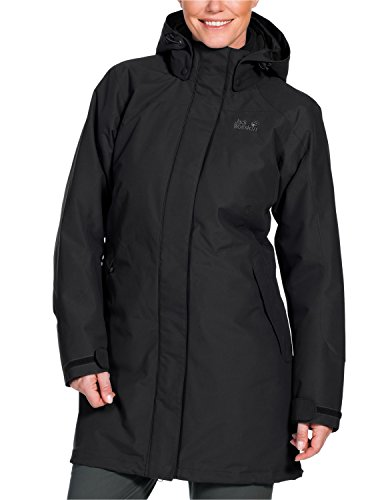 Jack Wolfskin Damen 3-in-1 Mantel Ottawa Coat, Black, L, 1100923-6000004 - Frauen Mantel Peak