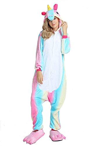 ABYED® Kostüm Jumpsuit Onesie Tier Fasching Karneval Halloween kostüm Erwachsene Unisex Cosplay Schlafanzug- Größe XL -for Höhe 175-181CM, Regenbogen Blaues Einhorn