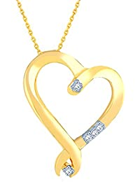 Silvernshine Diamond Accents 14k Yellow Gold Fn .925 Sterling Silver Heart Pendant Necklace