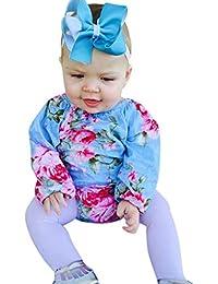 Sayla Ropa Bebe NiñA NiñO Verano Camisetas Conjuntos Moda Chica Manga Larga O-Cuello Floral