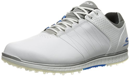 Skechers Performance Men's Go Golf Elite 2 Golf Shoe, White/Gray/Blue, 9.5 M...