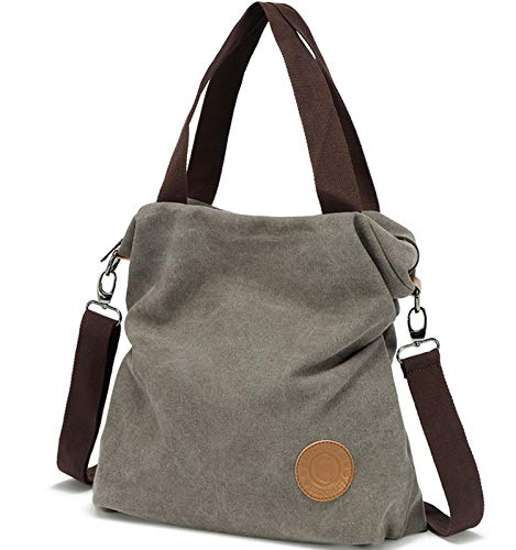 Canvas Handbag / Shoulder Bag - Vintage Hobo Top Handle,Gray