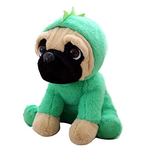 FONGFONG Weich Plüschtier Mops Hund mit Kostüm Kuscheltier 20 cm Gefüllte Puppe für Dekorieren Kinder Spielzeug Geschenke Dinosaurier