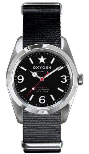 Oxygen EX-S-WAS-38-BL - Reloj analógico de cuarzo unisex, correa de nailon color negro (agujas luminiscentes)