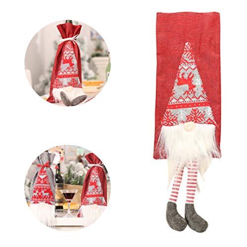TASoker Weihnachten Weinflasche Cover, Xmas Santa Claus Bottle Cover Taschen, Durable Wine Bottle Cover Sleeve für Home Party Dekore -