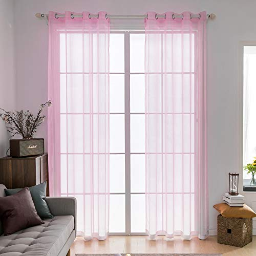 Miulee 2 pannelli tende voile leggeri trasaprenti decorative con occhielli per soggiorno e camera da letto 140x225cm roso