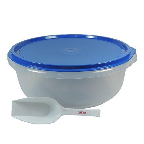 Viva-Haushaltswaren - Grosse Hefeteigschüssel 6 Liter mit Plopp-Deckel / Rührschüssel Frischhaltedose Salatschüssel, mit Messskala und Mehlschaufel- BPA-frei / hergestellt in Deutschland !