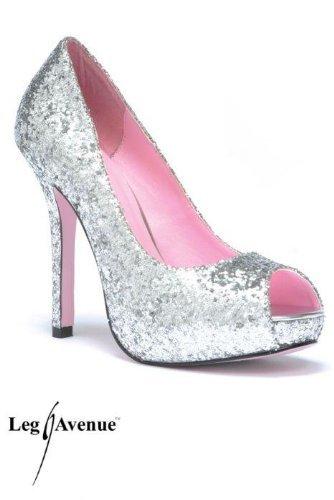 Leg Avenue 5011 - Ella 5 Zoll Glitzender Pump Schuh, Größe 7, Silber