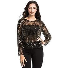 293caced18d3 PrettyGuide Damen Pailletten Bluse Transparente Party Tops Perlen Glitzer  Shirts