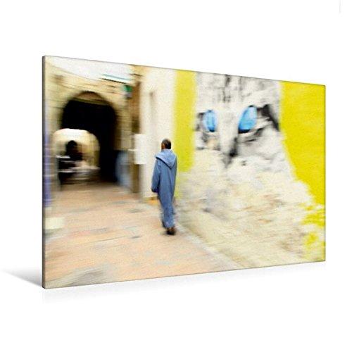 Welt Für Der Männer Trachten (Premium Textil-Leinwand 120 cm x 80 cm quer, Essaouira | Wandbild, Bild auf Keilrahmen, Fertigbild auf echter Leinwand, Leinwanddruck: Mann in Tracht ... Gassen von Essaouira, Marokko (CALVENDO)
