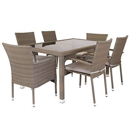 Conjunto de Mesa y sillas para jardín marrón de rattán plástico Garden - LOLAhome