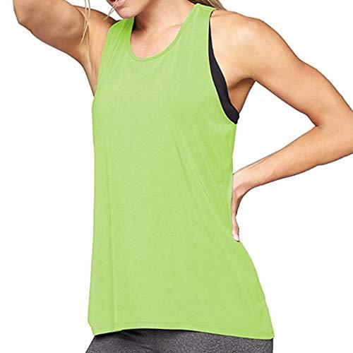Robemon Frauen Training Yoga Gym Sport Damen Laufen Jogger Sport Tank Tops Mode Pure Color Slim Fit ärmelloses Shirt Rundhals Shirt Damen Kreuz Wrap Zurück Leibchen -