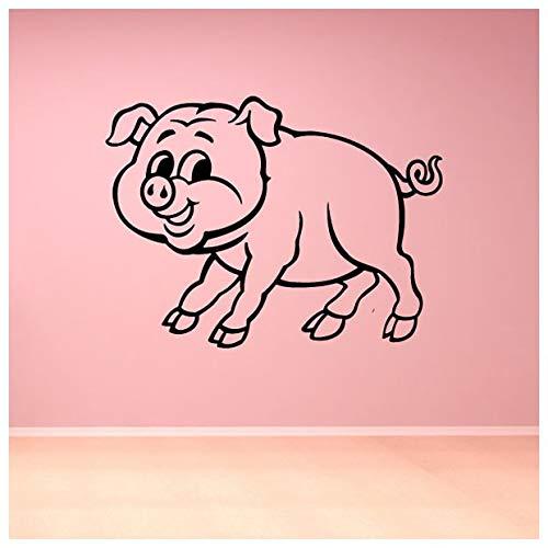 azutura Cartoon Piglet Baby Pig Animaux de la ferme Stickers Muraux Enfants Décor Art Decal disponible en 5 dimensions et 25 couleurs Petit Moss vert
