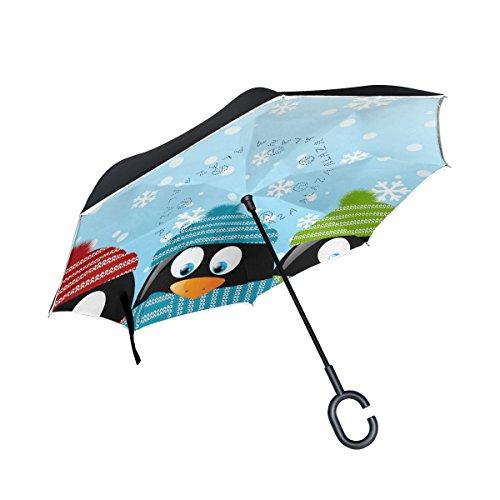 b875ffc07 BENNIGIRY - Paraguas invertido para Coche, diseño de pingüino, Resistente  al Viento y a los