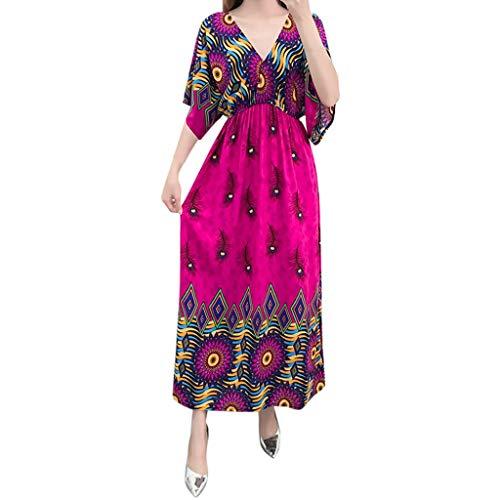 DIPOLA Damen Partykleid Print V-Ausschnitt Fledermaus Ärmel Bohemian Kleid Sommerkleider Damen Kurzarm V-Ausschnitt Strand Blumen Kleider Abendkleid