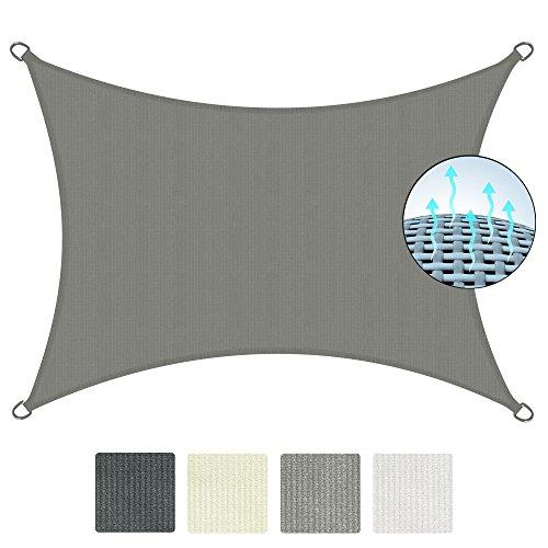 Sol Royal® Tenda a vela rettangolare SolVision 2x3m parasole traspirante per esterni - contro sole e raggi UV - grigio