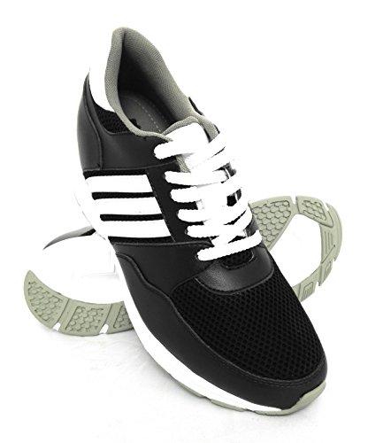 ZERIMAR Chaussures de sport d'intérieur avec augmente intérieur de 7 cm Fait de cuir de haute qualité 100% Peau Couleur Noir Noir