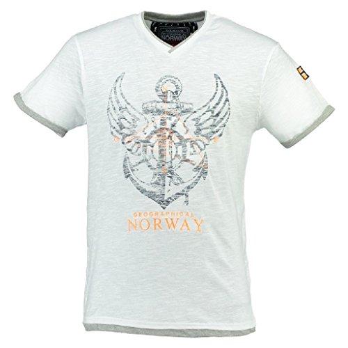 Geographical Norway Herren V-T-Shirt Jiron Herrenshirt Kurzarm Shirt Neu/OVP Weiß