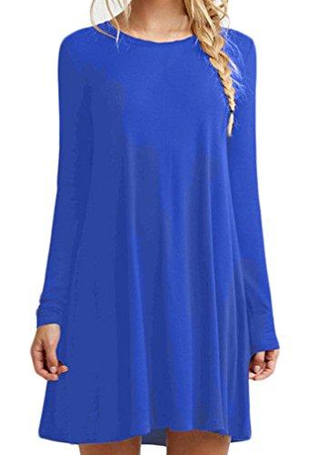 Vestiti donna eleganti corti vintage moda manica lunga rotondo collo tinta unita larghi casual autunno invernali t-shirt camicia vestito abito da giorno