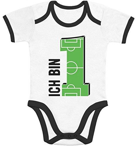 ag Junge Geschenke zum 1 Geburtstag - Fußball Baby Body Kurzarm-Body 81/86 (12-18M) Black/White ()