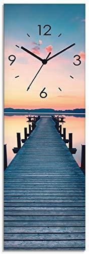 Artland Wanduhr ohne Tickgeräusche Glasuhr mit Motiv Design Quarz lautlos Größe: 20x60 cm Langer Steg am See im Sonnenaufgang T9QL See Blau