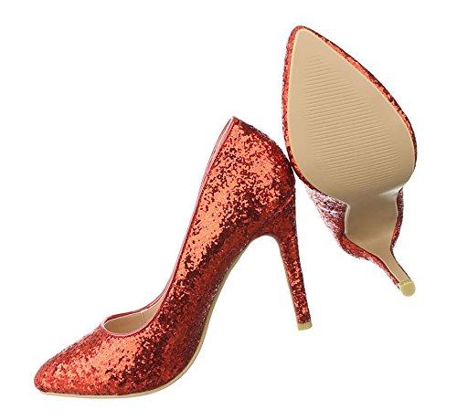Damen Pumps Schuhe High Heels Stöckelschuhe Stiletto Blau Schwarz Elfenbein Rot Gold 36 37 38 39 40 Rot