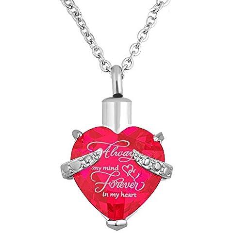 Herz Einäscherung Urn Halskette für Asche Urn Schmuck Memorial Anhänger mit Fill-Kit und Geschenk-Kasten (Rosa)