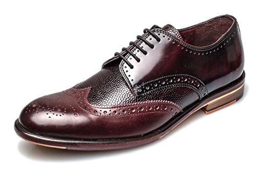 London Brogue richelieus Lincoln Derby Homme Cuir Mocassin Bordo Leather
