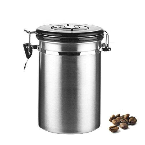 chicco di caffè contenitore ermetico, Loftstyle ermetico barattolo ermetico in acciaio INOX con integrato e valvola di sfiato CO2gas data Tracking–Kit per chicchi di caffè e caffè macinato